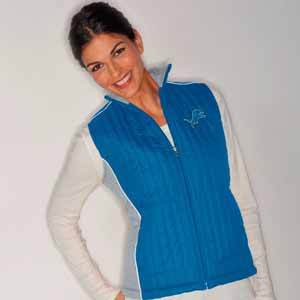 Detroit Lions Women's NFL Rally Full Zip Quilted Vest Jacket - Large