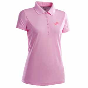 Detroit Lions Womens Pique Xtra Lite Polo Shirt (Color: Pink) - Small