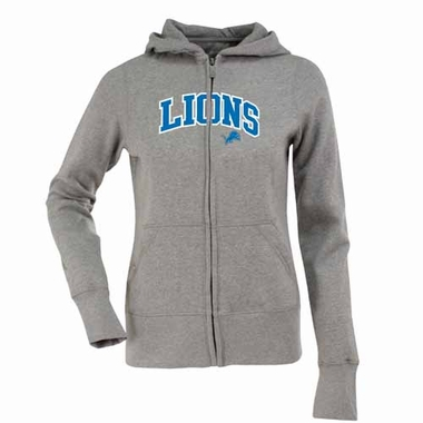 Detroit Lions Applique Womens Zip Front Hoody Sweatshirt (Color: Gray)