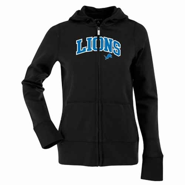 Detroit Lions Applique Womens Zip Front Hoody Sweatshirt (Team Color: Black)