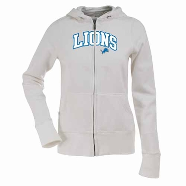 Detroit Lions Applique Womens Zip Front Hoody Sweatshirt (Color: White)