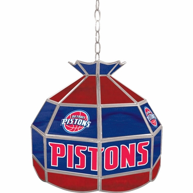 Detroit Pistons 16 Inch Diameter Stained Glass Pub Light