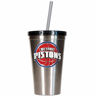 Detroit Pistons 16oz Stainless Steel Insulated Tumbler with Straw