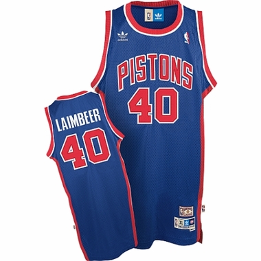 Detroit Pistons Bill Laimbeer Adidas Team Color Throwback Replica Premiere Jersey