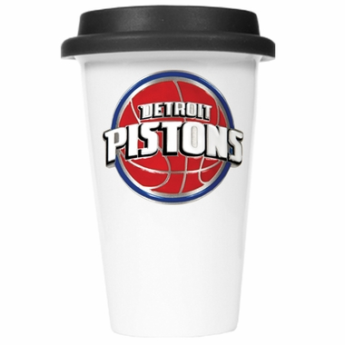Detroit Pistons Ceramic Travel Cup (Black Lid)
