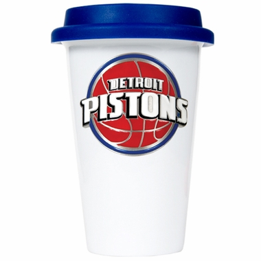 Detroit Pistons Ceramic Travel Cup (Team Color Lid)