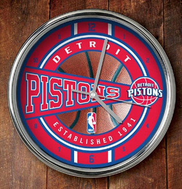 Detroit Pistons Chrome Clock