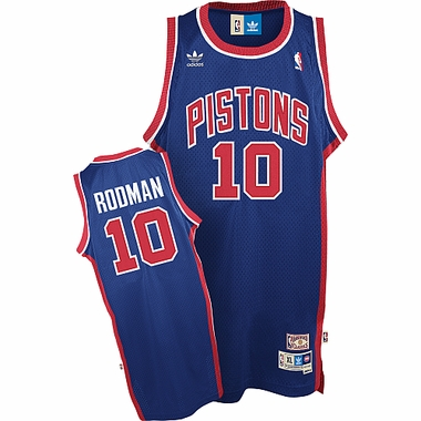 Detroit Pistons Dennis Rodman Adidas Team Color Throwback Replica Premiere Jersey
