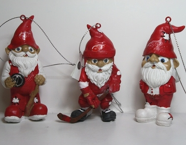 Detroit Red Wings 2012 Gnome 3 Pack Ornament Set
