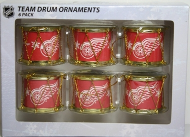 Detroit Red Wings 2012 Plastic Drum 6 Pack Ornament Set