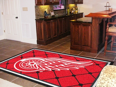 Detroit Red Wings 5 Foot x 8 Foot Rug