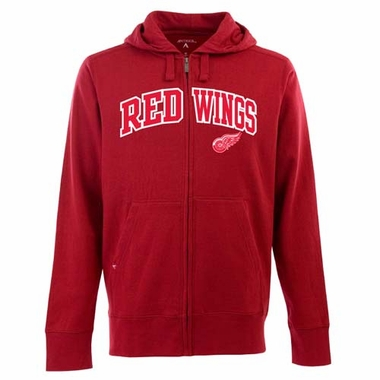 Detroit Red Wings Mens Applique Full Zip Hooded Sweatshirt (Color: Red)