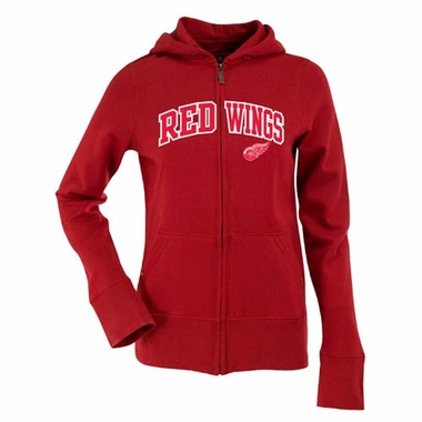 Detroit Red Wings Applique Womens Zip Front Hoody Sweatshirt (Team Color: Red)