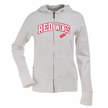 Detroit Red Wings Applique Womens Zip Front Hoody Sweatshirt (Color: White)