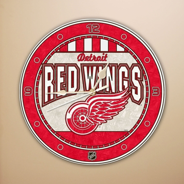 Detroit Red Wings Art Glass Clock