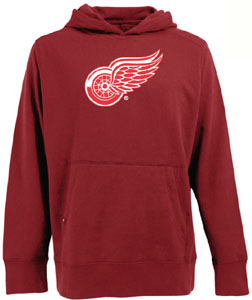 Detroit Red Wings Big Logo Mens Signature Hooded Sweatshirt (Team Color: Red) - Large