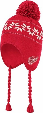 Detroit Red Wings CCM Tassel Pom Snowflake Knit Hat
