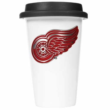 Detroit Red Wings Ceramic Travel Cup (Black Lid)