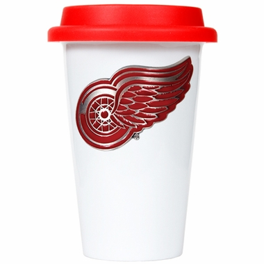Detroit Red Wings Ceramic Travel Cup (Team Color Lid)