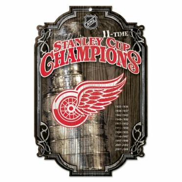 Detroit Red Wings Championship Wood Sign