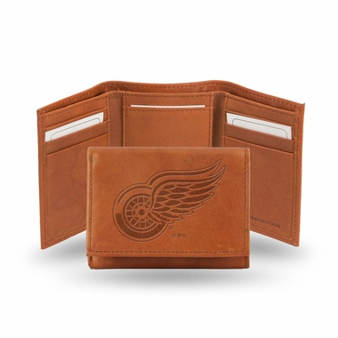 Detroit Red Wings Embossed Leather Trifold Wallet