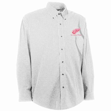 Detroit Red Wings Mens Esteem Check Pattern Button Down Dress Shirt (Color: White)