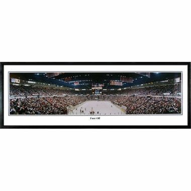 Detroit Red Wings Face Off Framed Panoramic Print