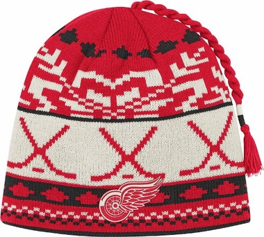 Detroit Red Wings Jacquard Pattern Hocky Stick Tassel Cuffless Knit Hat