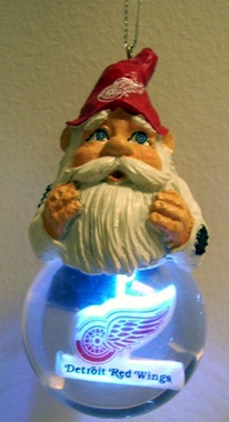 Detroit Red Wings Light Up Gnome Snow Globe Ornament