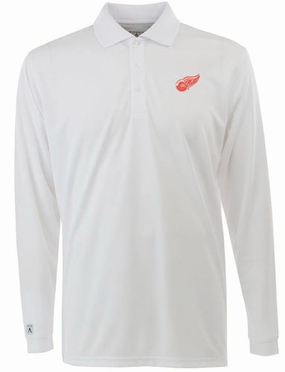 Detroit Red Wings Mens Long Sleeve Polo Shirt (Color: White)