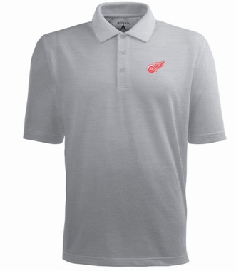 Detroit Red Wings Mens Pique Xtra Lite Polo Shirt (Color: Gray)