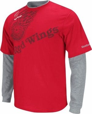 Detroit Red Wings Scrimmage Layered Thermal Shirt