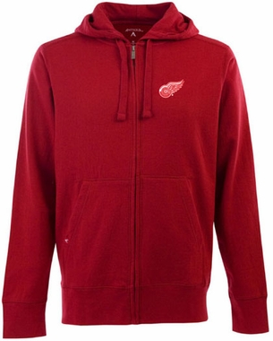 Detroit Red Wings Mens Signature Full Zip Hooded Sweatshirt (Team Color: Red)