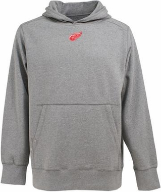 Detroit Red Wings Mens Signature Hooded Sweatshirt (Color: Gray)