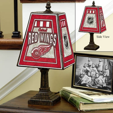 Detroit Red Wings Small Art Glass Lamp