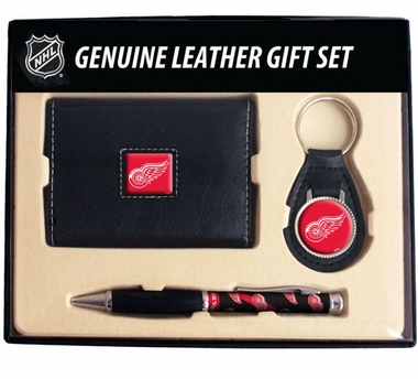 Detroit Red Wings Trifold Wallet Key Fob and Pen Gift Set