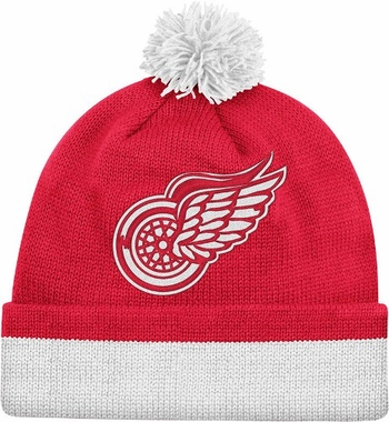 Detroit Red Wings Vintage Jersey Stripe Cuffed Knit Hat w/ Pom