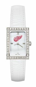 Detroit Red Wings Women's White Leather Strap Allure Watch