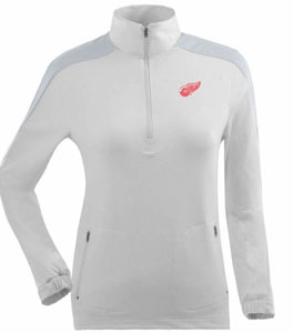 Detroit Red Wings Womens Succeed 1/4 Zip Performance Pullover (Color: White) - Small