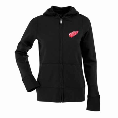 Detroit Red Wings Womens Zip Front Hoody Sweatshirt (Alternate Color: Black)