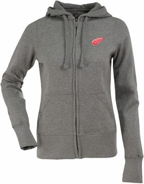 Detroit Red Wings Womens Zip Front Hoody Sweatshirt (Color: Gray)