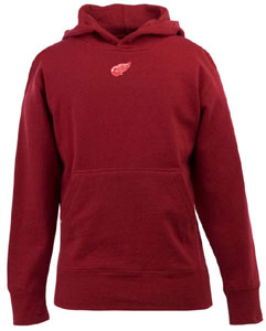 Detroit Red Wings YOUTH Boys Signature Hooded Sweatshirt (Team Color: Red) - Large