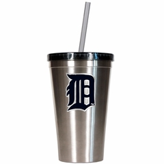 Detroit Tigers 16oz Stainless Steel Insulated Tumbler with Straw