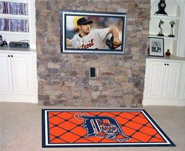 Detroit Tigers 5 Foot x 8 Foot Rug