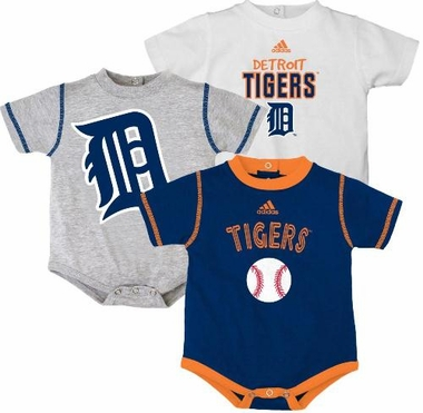 Detroit Tigers Adidas 3 Pack Bodysuit Creeper Set