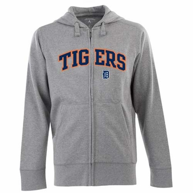 Detroit Tigers Mens Applique Full Zip Hooded Sweatshirt (Color: Gray)
