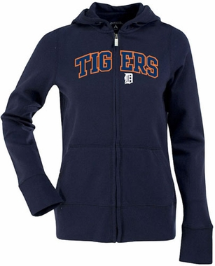 Detroit Tigers Applique Womens Zip Front Hoody Sweatshirt (Color: Navy)