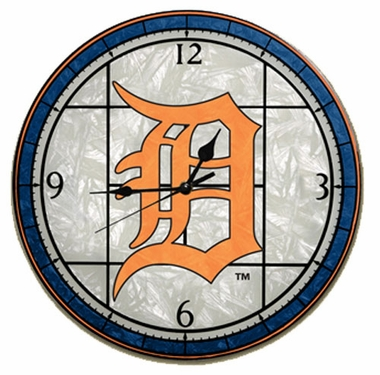 Detroit Tigers Art Glass Clock
