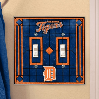 Detroit Tigers Art Glass Lightswitch Cover (Double)