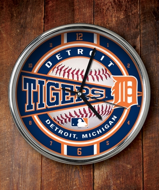 Detroit Tigers Chrome Clock
